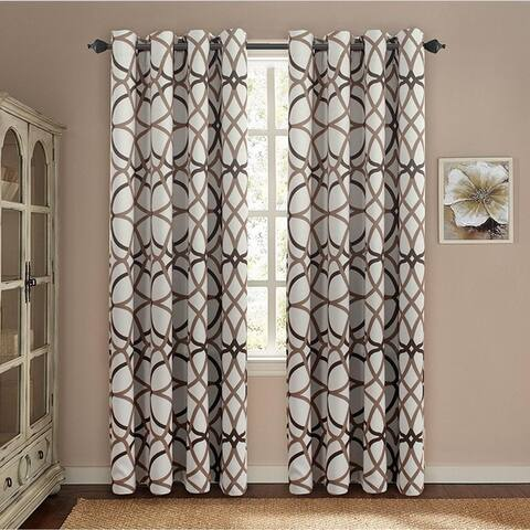 PrimeBeau Geometric Pattern Blackout Curtain Pair 2-Pack