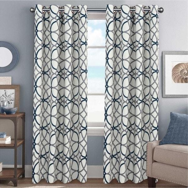 geometric blackout curtains navy blue primebeau geometric pattern blackout curtain pair 2pack shop on