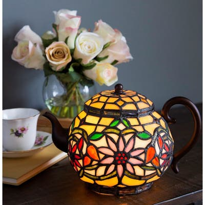 """Copper Grove Carnach 6.5-inch high Stained Glass Teapot Accent Lamp - 10""""L x 7""""W x 6.5""""H"""