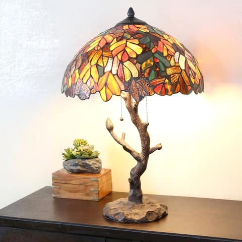 "Copper Grove Eugenia Stained Glass 24.5-inch Tiffany-style Lamp with Tree Trunk Base - 16""L x 16""W x 24.50""H"