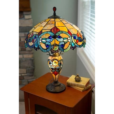 Copper Grove Glenbow 26-inch Tiffany-style Stained Glass Victorian Double-lit Table Lamp