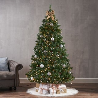 Link to 7-ft Spruce Pre-Lit or Unlit Hinged Artificial Christmas Tree with Frosted Branches Berries Pinecones by Christopher Knight Home Similar Items in Christmas Greenery