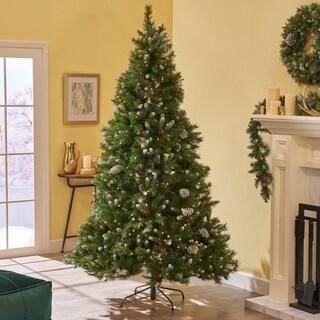 7.5-ft Spruce LED or Unlit Artificial Christmas Tree with Frosted Branches, Red Berries & Pinecones by Christopher Knight Home