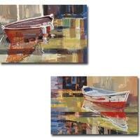 Red Boat 1 and 3 by Sydni Sterling 2-piece Gallery Wrapped Canvas Giclee Art Set (16 in x 24 in each piece, Ready to Hang)