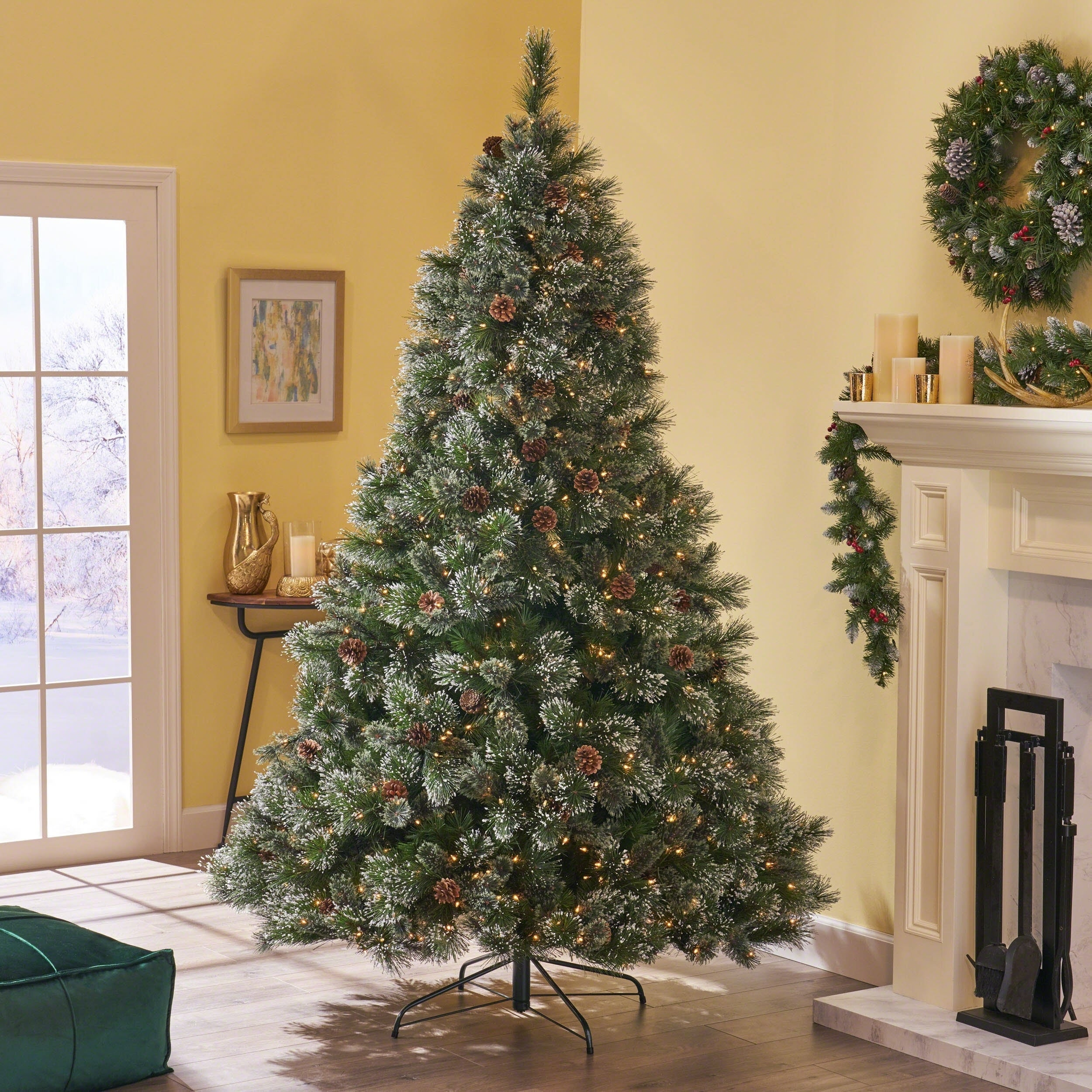 Snowy Christmas.7 5 Ft Cashmere Pine Spruce Pre Lit Or Unlit Artificial Christmas Tree With Snowy Branches Pinecones By Christopher Knight Home