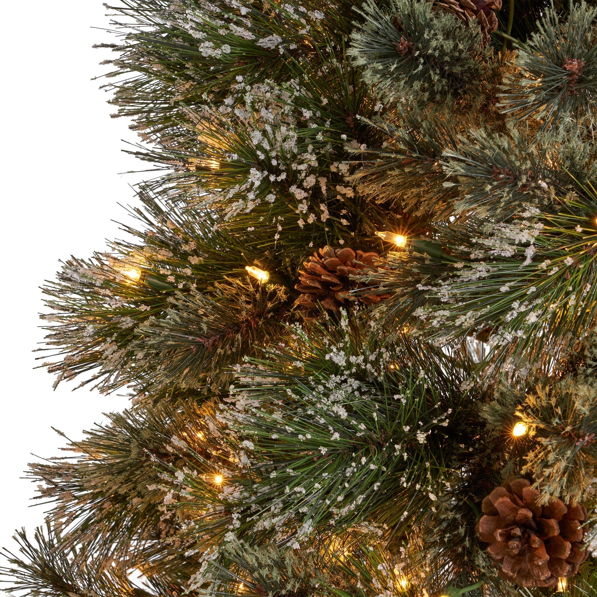 Artificial Christmas Tree Branches.7 5 Ft Cashmere Pine Spruce Pre Lit Or Unlit Artificial Christmas Tree With Snowy Branches Pinecones By Christopher Knight Home