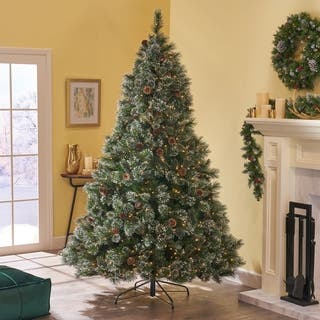 9 ft cashmere and spruce led or unlit artificial christmas tree with snowy branches - 9 Ft Led Christmas Tree