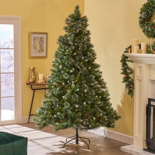 9-ft Spruce Pre-Lit or Unlit Artificial Christmas Tree with Glitter Branches, Red Berries & Pinecones by Christopher Knight Home