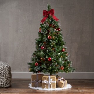 4.5-ft Spruce LED or Unlit Artificial Christmas Tree with Glitter Branches, Red Berries and Pinecones by Christopher Knight Home