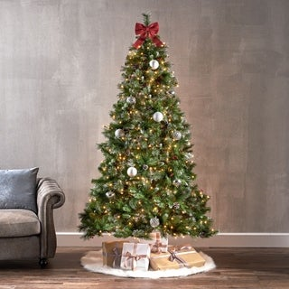 7-ft Spruce Pre-Lit or Unlit Artificial Christmas Tree with Glitter Branches, Red Berries & Pinecones by Christopher Knight Home