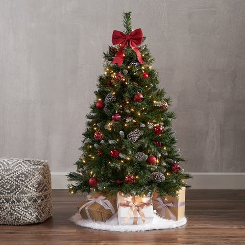 4.5-ft Spruce Pre-Lit or Unlit Artificial Christmas Tree with Frosted Branches Red Berries Pinecones by Christopher Knight Home