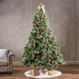 7.5-ft Cashmere Pine, Spruce Pre-Lit or Unlit Artificial Christmas Tree with Snowy Branches Pinecones by Christopher Knight Home