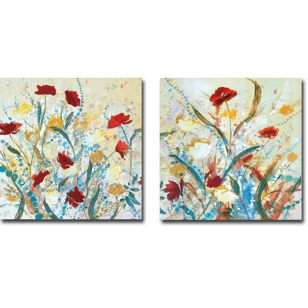 Field of Warmth 1 and 2 by Savy Jane 2-piece Gallery Wrapped Canvas Giclee Art Set (24 in x 24 in, Ready to Hang)