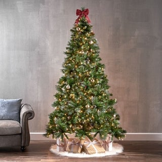 7.5-ft Spruce Pre-Lit or Unlit Artificial Christmas Tree with Glitter Branches Red Berries Pinecones by Christopher Knight Home