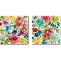 Bouquet 1 and 2 by Elle Franklin 2-piece Gallery Wrapped Canvas Giclee Art Set (24 in x 24 in each piece, Ready to Hang)