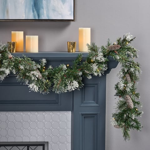 9-foot Spruce Clear LED Artificial Christmas Garland with Snow & Glitter Branches & Frosted Pinecones by Christopher Knight Home