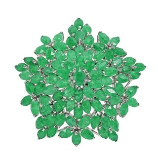 Handmade Gorgeous Genuine Green Emerald Blossom 2 in 1 Brooch Pin and Pendant Necklace (Thailand)