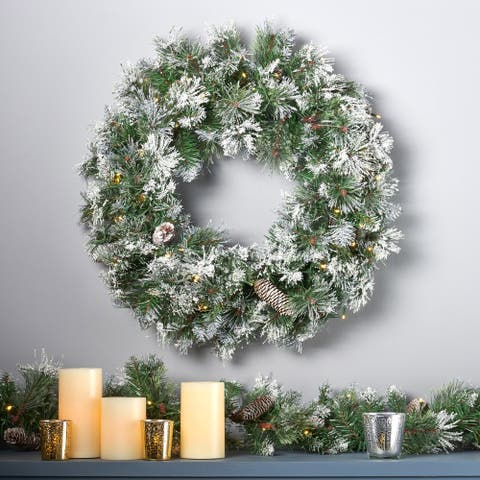 "24"" Mixed Spruce Christmas Wreath 50 Warm White LED Lights Flocked Snow & Glitter Branches, Pinecones by Christopher Knight Home"
