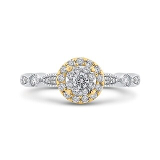 14K Two Tone Gold 1/2ct TDW Diamond Milgrain Engagement Ring (I-J, I1)