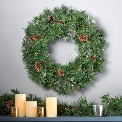 "24"" Cashmere Pine and Spruce Christmas Wreath 50 Warm White LED Lights, Snowy Branches & Pinecones by Christopher Knight Home"