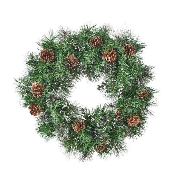 Christmas Garland 9ft Prelit Warm White Led Lights Snow