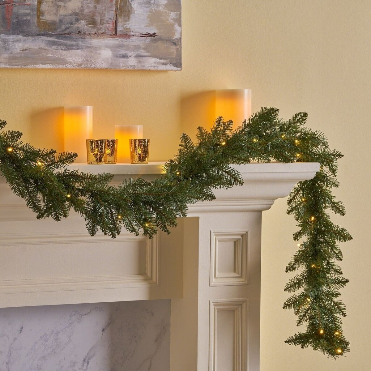 9 Foot Dunhill Fir Pre Lit Warm White Led Artificial Christmas Garland By Christopher Knight Home