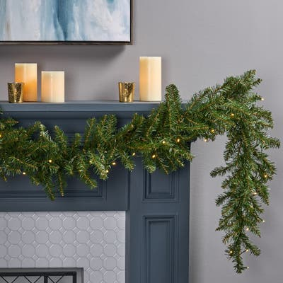 9-foot Fraser Fir Pre-lit LED Garland by Christopher Knight Home - led - clear