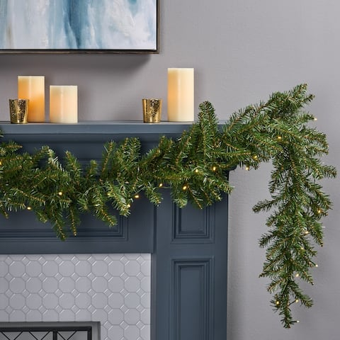 9-foot Fraser Fir Pre-Lit Warm White LED Artificial Christmas Garland by Christopher Knight Home - led - clear