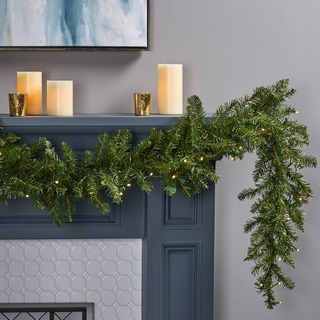 Link to 9-foot Fraser Fir Pre-Lit Warm White LED Artificial Christmas Garland by Christopher Knight Home - led - clear Similar Items in Christmas Decorations