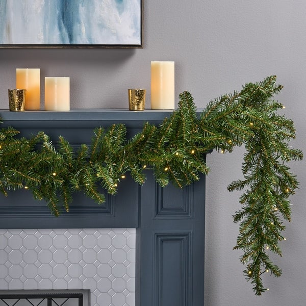 9-foot Fraser Fir Pre-Lit Warm White LED Artificial Christmas Garland by Christopher Knight Home - led - clear. Opens flyout.