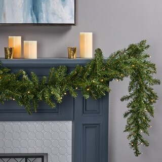 9-foot Dunhill Fir Pre-Lit Clear LED Christmas Garland - Battery Operated - Timer Included by Christopher Knight Home