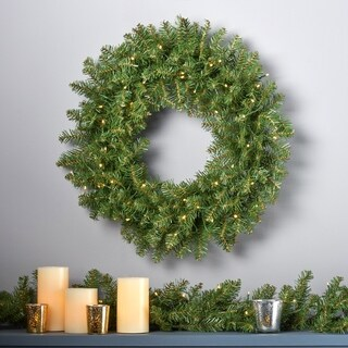"""24"""" Dunhill Fir Christmas Wreath w/50 Warm White LED Lights, Battery-Operated, Timer Included by Christopher Knight Home"""