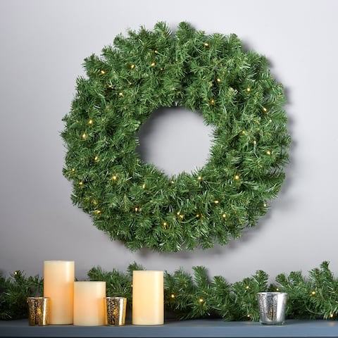 "24"" Noble Fir Warm White LED Artificial Christmas Wreath by Christopher Knight Home - led-clear"