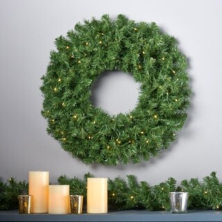 """24"""" Noble Fir Christmas Wreath w/50 Warm White LED Lights, Battery-Operated, Timer Included by Christopher Knight Home"""