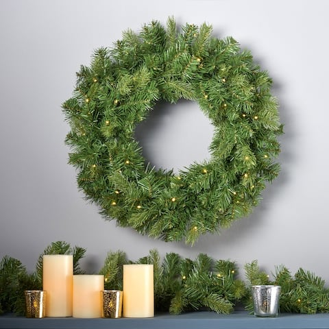 "24"" Mixed Spruce Warm White LED Artificial Christmas Wreath by Christopher Knight Home - led-clear"