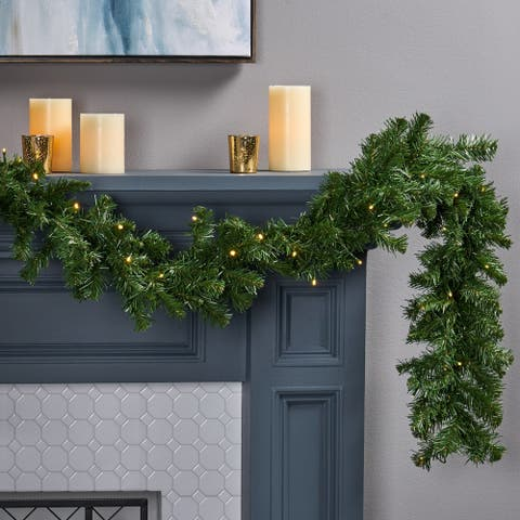 9-foot Noble Fir Pre-lit Warm White LED Artificial Christmas Garland by Christopher Knight Home - led - clear