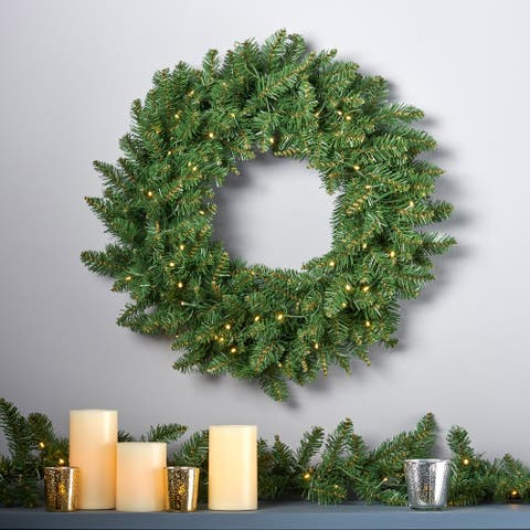 24-Inch Norway Spruce Pre-Lit Warm White LED Artificial Christmas Wreath by Christopher Knight Home - led-clear