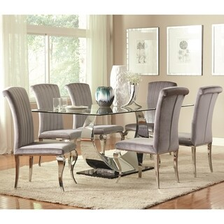 Cabriole Modern Timeless Design Dining Set with Tempered Glass Table Top