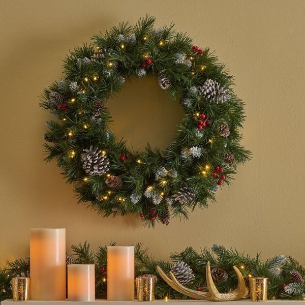 Shop 24 Quot Mixed Spruce Christmas Wreath 50 Warm White Led