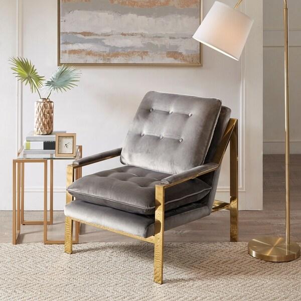 "Madison Park Elmira Grey Accent Armchair - 28""w x 34""d x 34.75""h"