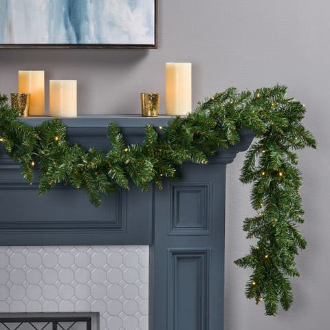 9-foot Norway Spruce Pre-Lit Warm White LED Artificial Christmas Garland by Christopher Knight Home - led - clear