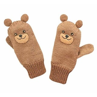 Kidorable Little Boys' Bear knit Mittens, Brown, Small, Handmade and Lightweight