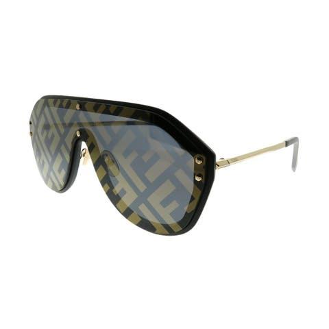 Fendi Men Shield FF M0039/G/S 2M2 7Y Unisex Black Gold Frame Gold Fendi Print Mirror Lens Sunglasses
