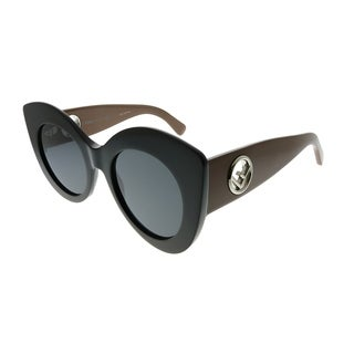 Fendi Cat-Eye FF 0306/S F Is Fendi R60 IR Women Black Brown Frame Grey Lens Sunglasses