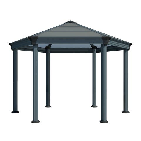 Palram Roma Garden Gazebo with Twin Wall Roof Panel and Aluminum Frame - Gray