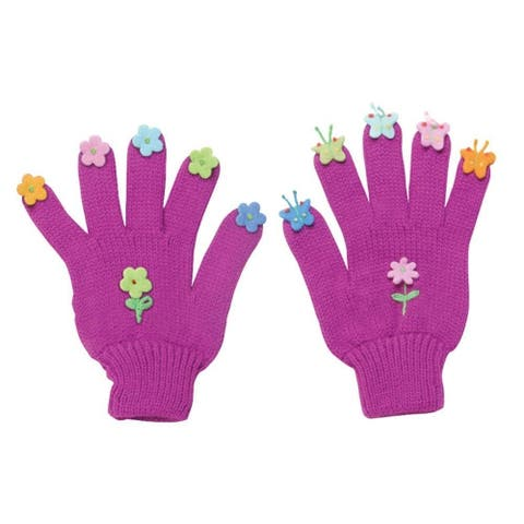 Kidorable Girls 2-6X Butterfly Gloves, Purple, Medium 120PGLOVEBFM