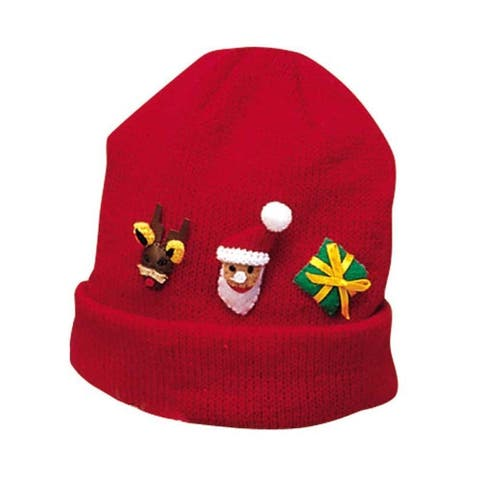 Kidorable Red Christmas Soft Acrylic Knit Hat, One Size with Fun Santa Reindeer