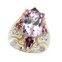 Michael Valitutti Palladium Silver Kunzite, Rhodolite & Pink Sapphire Ring
