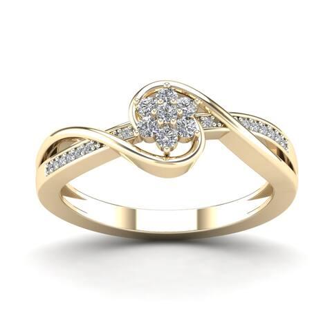 AALILLY 10k Yellow Gold 1/5ct TDW Diamond Flower Fashion Ring (H - I, I1 - I2)