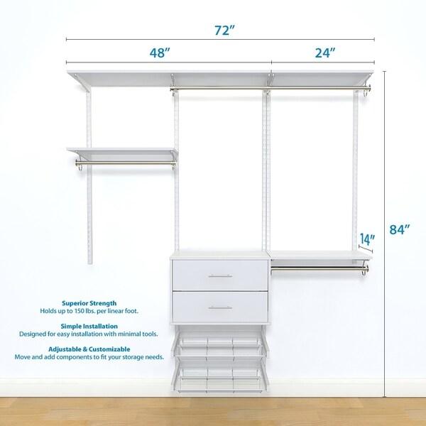 """freedomRail Ultimate Adjustable Closet Kit 72"""" - 76"""""""